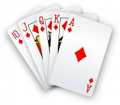 stock photo of poker hand  - Royal straight flush playing cards winning poker hand in diamonds - JPG