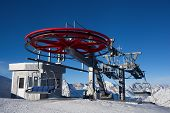 image of ropeway  - ropeway in snow mountain under blue sky - JPG