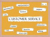 stock photo of rep  - Customer Service Corkboard Word Concept with great terms such as rep support calls and more - JPG