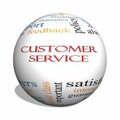 stock photo of rep  - Customer Service 3D sphere Word Cloud Concept with great terms such as call center help staff rep and more - JPG