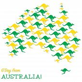 image of kangaroo  - Australian Map Made From Kangaroos In Vector Format - JPG