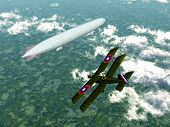 pic of biplane  - German Airship and Biplane of the Allied from the first world war - JPG
