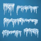 image of icicle  - Ice sheets with icicles and snowflakes vector illustration - JPG