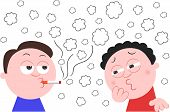 pic of cough  - Vector cartoon man smoking a cigarette while another man is coughing from the smoke - JPG