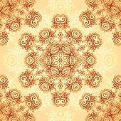stock photo of mehndi  - Ornate vintage circle vector seamless pattern in mehndi style - JPG