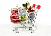 Shopping cart with Christmas gifts