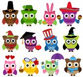 image of mexican fiesta  - Vector Set of Cute Holiday and Seasonal Owls - JPG