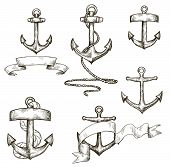 stock photo of anchor  - set of hand drawn anchors and ribbons vector - JPG