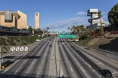 LOS ANGELES, CALIFORNIA - November 24, 2013:  Traffic free weekend view of the Hollywood 101 Freeway