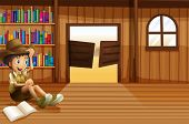 Illustration of a young boy reading inside the room with a swingdoor
