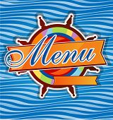 stock photo of rudder  - restaurant menu whit rudder on sea background - JPG
