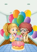 image of oblong  - Illustration of a birthday party inside the house - JPG