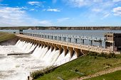 stock photo of hydroelectric power  - Powerful dam in the town of Bassano Alberta - JPG
