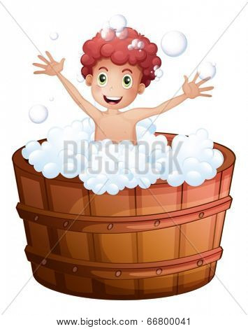 Illustration of a young boy playing at the bathtub on a white background