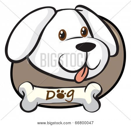 Illustration of a head of a cute white dog on a white background