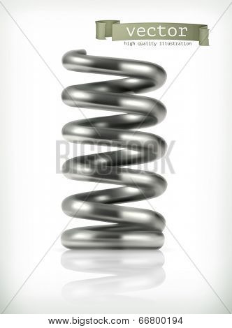 Elastic metal spring, vector icon