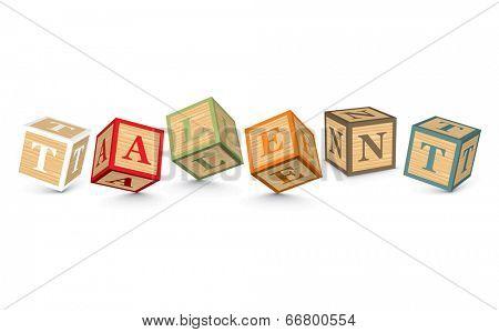 TALENT written with alphabet blocks - vector illustration