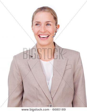 Portrait Of A Sparkling Businesswoman With Headset On