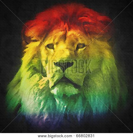 Colorful, artistic portrait of a lion with rich mane on black background. Abstract