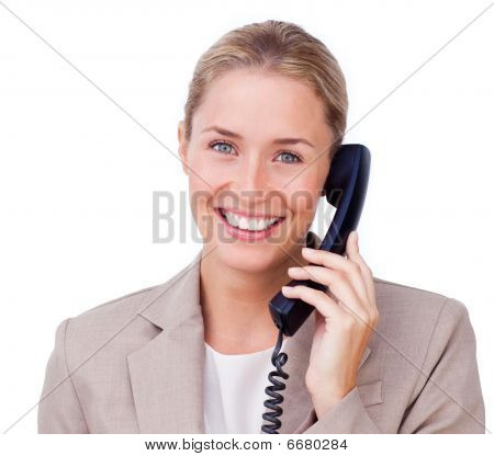 Close-up Of A Positive Blond Businesswoman On Phone