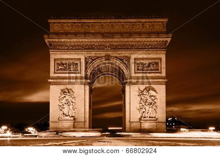 Arc de Triomphe, Paris, France. View from Avenue des Champs-Elysees. Vintage retro style, monochrome.