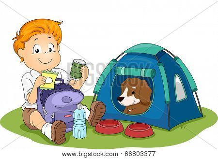 Illustration of a Kid Camping with His Pet Dog