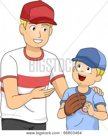 Illustration of a Father and a Little Boy Bonding Over Baseball