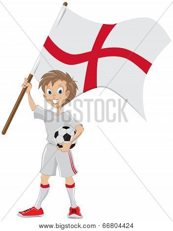 Happy soccer fan holds English flag