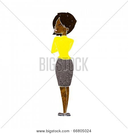 cartoon businesswoman ignoring