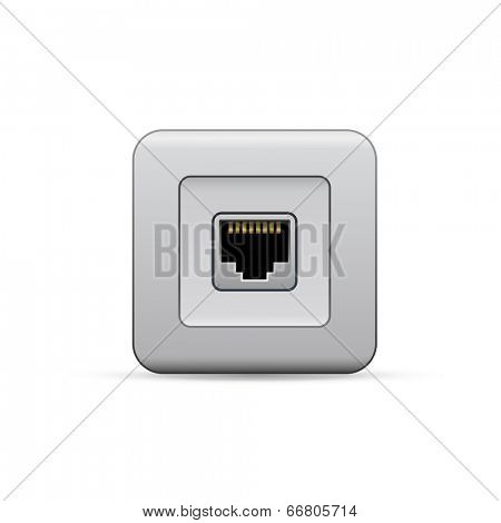 Network Ethernet port. Network router or switch icon.