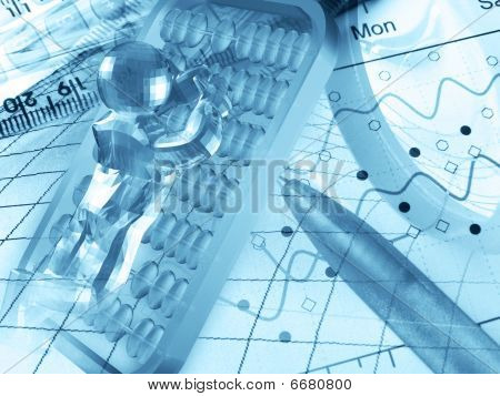 3D Man, Ruler, Pen And Magnifying Glass