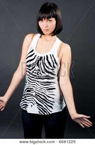 surprised caucasian girl making do not know sign isolated