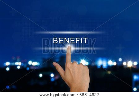 Hand Pushing Benefit Button On Touch Screen