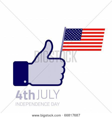 Thumb up hold american flag icon.