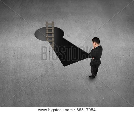 Top View For Businessman, Key Shape Hole And Ladder