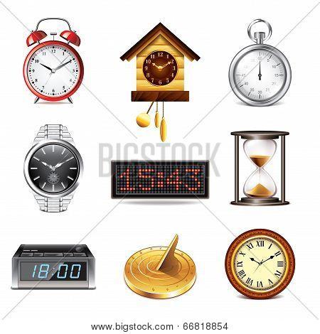 Different Clocks Icons Vector Set