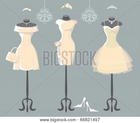 Set Of  Three Wedding Dresses With Short Skirt