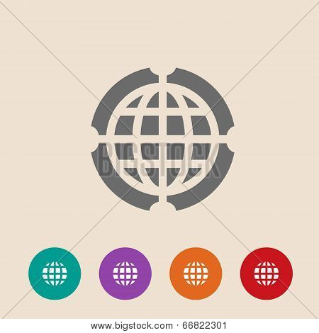 Globe Icon Vector Illustration. Flat Design Style