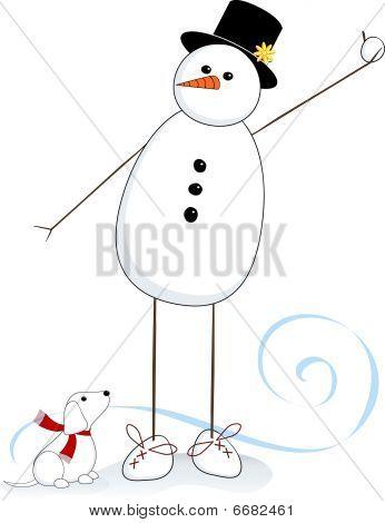 Tall Leg Snowman & Snowdog