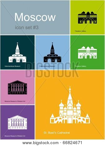 Landmarks of Moscow. Set of flat color icons in Metro style.Raster image.