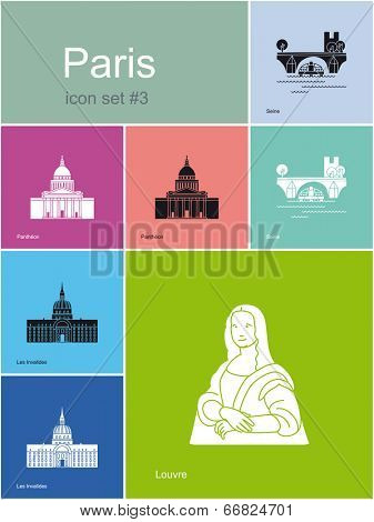 Landmarks of Paris. Set of flat color icons in Metro style. Raster image.