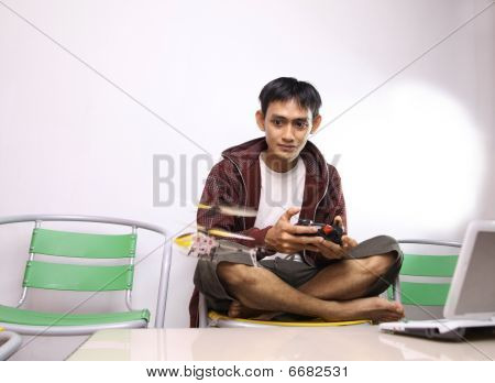 man playing RC toy