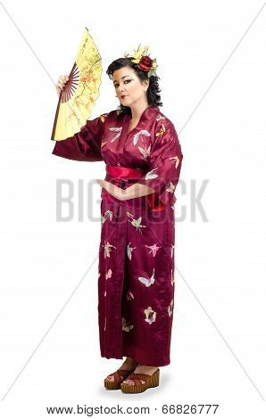 Woman Wearing Traditional National Far Eastern Clothes