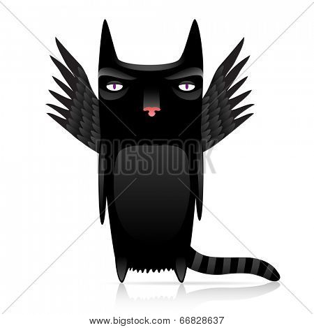 cute inferno cat with dark wings.10 eps with gradients