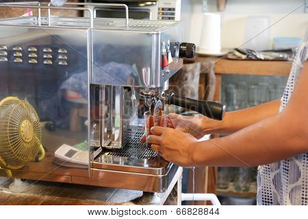 Making A Double Shot Of Espresso From Coffee Machine
