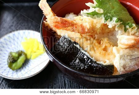 Deep Fried Shrimp Called Tempura On Top Of Japanese Rice