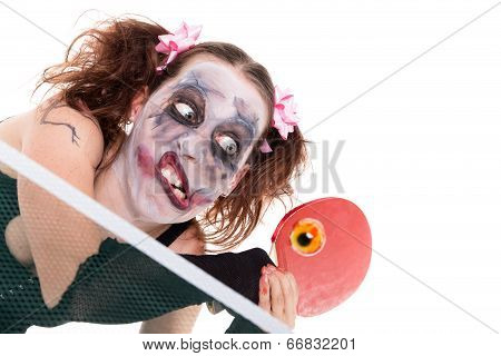 Halloween Concept With Creepy Female Clown