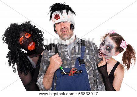 Group Of Creepy Halloween Creatures