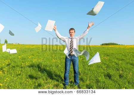 Successful Businessman Threw Papers In The Field