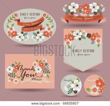 Save The Date Card & Vintage flowers Card